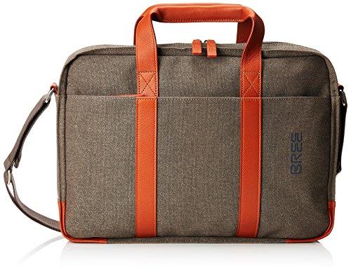 BREE Unisex-Erwachsene PNCH Casual 718 shoulder bag Schultertasche, Grau (Grey/Cognac), 8.0x29.0x38.0 cm