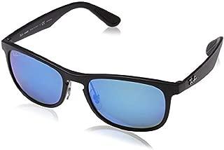 RB4263 Chromance Mirrored Square Sunglasses, Matte Black/Polarized Blue Mirror, 55 mm