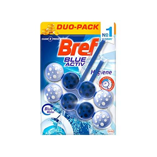 Bref Blue Activ Detersivo per WC, Sfere detergenti Bref WC per la massima pulizia e l'igiene assoluta, WC detergente anti-calcare ed extra-freschezza, 1 confezione da 2 x 50g