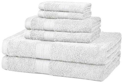 Amazon Basics Juego de 6 Toallas de algodón Resistentes a la decoloración