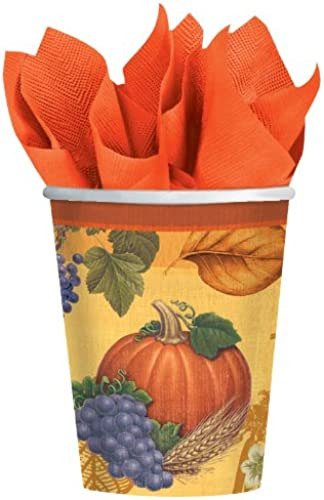 Thanksgiving Cups - Fall Theme Hot Cold Cups - 9 Oz - 8 Count