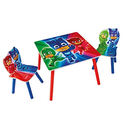Familie24 3tlg. Holz Kindersitzgruppe Auswahl Sitzgruppe Frozen Cars Minnie Maus Mickey Maus Winnie Pooh Tisch + 2X Stuhl (P J Masks)