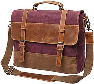 Mens Messenger Bag,Waterproof Canvas Leather Computer Laptop Bag,15.6 Inch Briefcase,Vintage Canvas Bag,Genuine Leather Shoulder Bag(Brown)