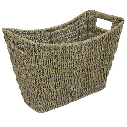 JVL 16-994 Seagrass Newspaper Magazine Storage Rack, Wicker, Brown