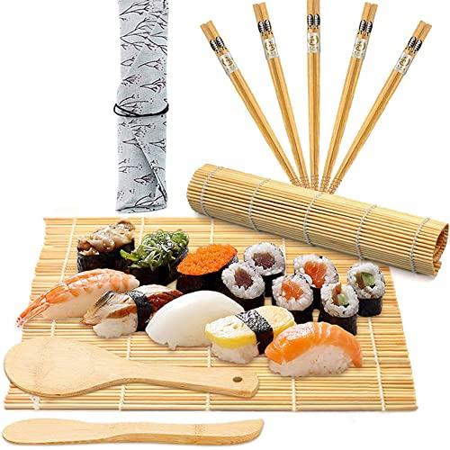 BESTZY 10 szt. zestaw do robienia sushi, zestaw do sushi dla kucharzy i początkujących najlepszy profesjonalny zestaw do szybkiego robienia sushi