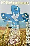 Afie Carte Félicitations Communion Dorure Or Croix épis Champ Blé Pain Vin Raisin Fleurs Colombe Paix Parrain Marraine église Chrétien Catholique Religion Fabriqué en France 68-1204