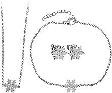 Lady Bling Bling Damen Schmuck-Set Halskette mit Anhänger, Armband und Ohrringe aus Edelstahl Schneeflocke Eisstern inkl. Etui
