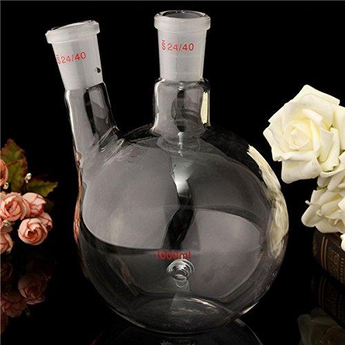 EsportsMJJ 1000Ml 2 Neck 24/40 Flachboden Glaskolben Labor Siede Flasche