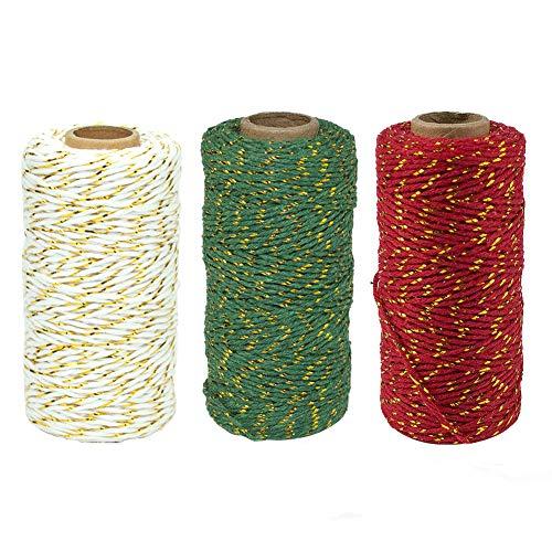 Frgasgds Ficelle de Noël,3 Rouleaux 100 m Ficelle de Noël Ficelle de Coton Artisanat Fil Durable pour l'emballage de Cadeaux de Noël Bricolage et Arts Faits à la Main Cravate