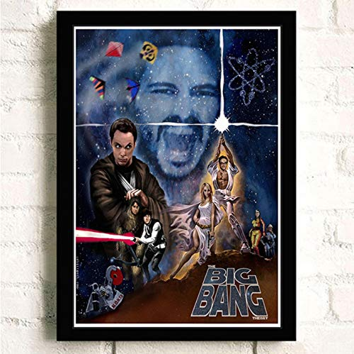PCCASEWIND Frameless Painting 50X70Cm, The Big Bang Theory Movie Wall Artist Home Decoration Canvas Painting Nordic Hotel Bar Cafe Living Room Poster,Pc-1196