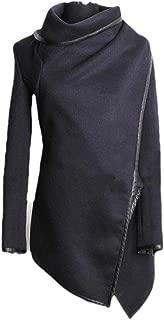 Women Long Sleeve Irregular Hem Wool Blend Trench Coat Jacket Outerwear