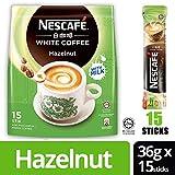 Nestle Malaysia 3 In 1 Nescafe White Coffee Hazelnut Flavour Premix Instant Coffee Rich Aroma Halal Drinks Teatime Breakfast (15 sachets) (15 sticks)