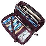 Lavemi Women's RFID Blocking Leather Zip Around Wallet Large Phone Holder Clutch Travel Purse Wristlet(Large Size Vintage Purple)