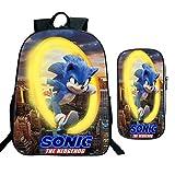 XINHANG Mochila Escolar Sonic 2 unids/Set Sonic Boom The Hedgehog, Mochilas Escolares para niños y niñas, Mochila para niños, Mochila de Dibujos Animados para niños, Juegos de Bolsas de lápices