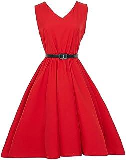 VESNIBA Women's Vintage Bodycon Sleeveless Casual Retro Evening Party Prom Swing Dress