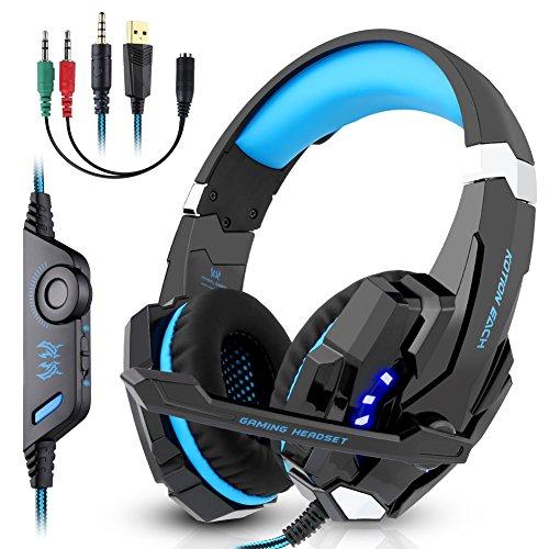 Nasharia Gaming Headset G9000 Stereo für PS4 Xbox One, Kopfhörer mit Mikrofon 3.5mm On Ear Surround, LED-Leuchten und Lautstärkeregler für Laptop, PC, Mac, iPad, Computer, Smartphones(Blau)