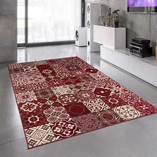UN AMOUR DE TAPIS 120x170 Tapis Salon Moderne Design Graphique Carreaux de Ciment Poils Ras - Grand Tapis Salon Rectangulaire - Tapis Salon Rouge