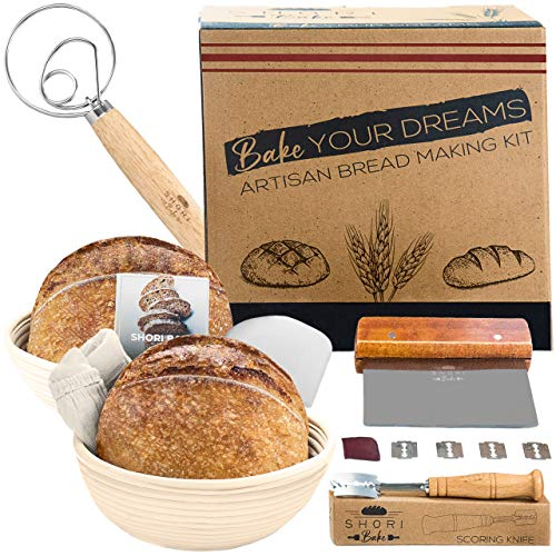 Shori Bake Banneton Bread Proofing Basket Set of 2 Round 9 Inch + Sourdough Bread Making Tools Kit, Baking Gifts for Bakers, Brotform Liner, Bread Lame, Dough Scraper, Bowl Scraper, Danish Dough Whisk