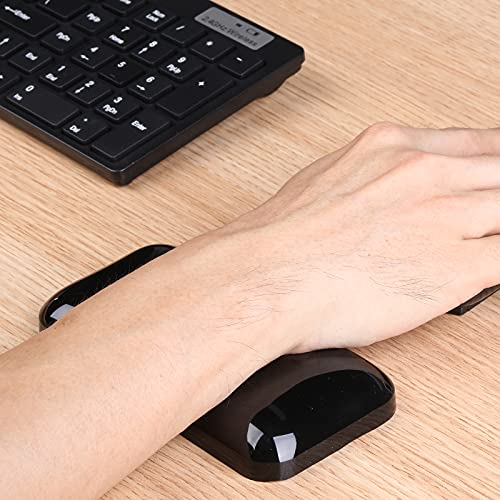 Aelfox Soft Gel Mouse Wrist Rest, Cool Ergonomic Mouse Pad Wrist Pad Silicone Wrist Support - Alleviate Wrist Pain for Laptop, Computer, Office, School Home (Black, 5.6 x 2.95 x 0.75 Inch)