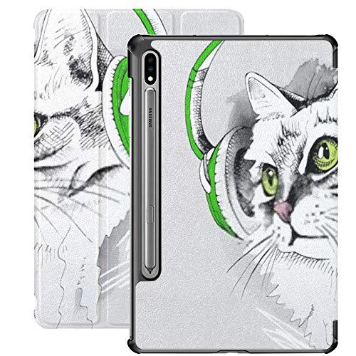 Galaxy Tablet S7 Plus Custodia da 12,4 pollici 2020 con supporto per penna S, ritratto Cat Green Eyes Cuffie Custodia protettiva Folio sottile per Samsung