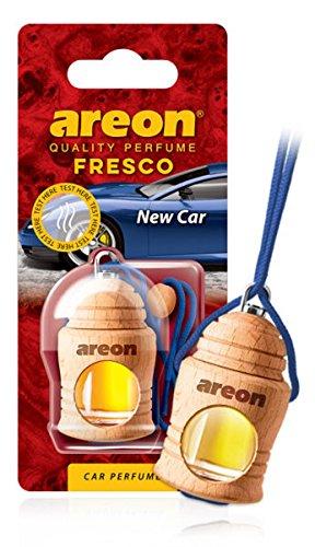 AREON Fresco Auto Duft New Car Neues Auto Neuwagen Blau Glas Duftflakon Holz Flakon Hängend Anhänger Spiegel 4ml (Pack x 1)