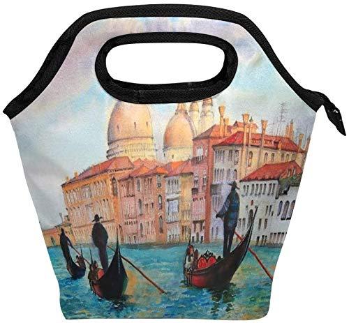 Venice Water Town - Bolsa de almuerzo con cremallera aislada, bolsa de asas más fría para adultos, adolescentes, niños, niñas, hombres, mujeres, cajas de almuerzo para paisajes, loncheras, bolso de p