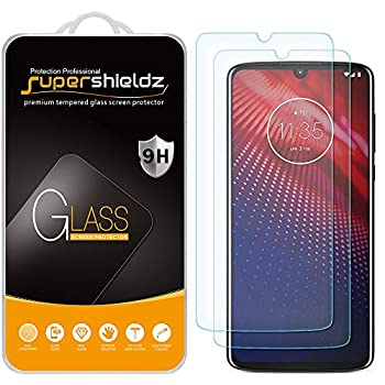 2 Pack  Supershieldz Designed for Motorola  Moto Z4  Tempered Glass Screen Protector Anti Scratch Bubble Free
