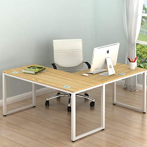 "SHW Home Office 55""x60"" Large L Shaped Corner Desk, Oak"