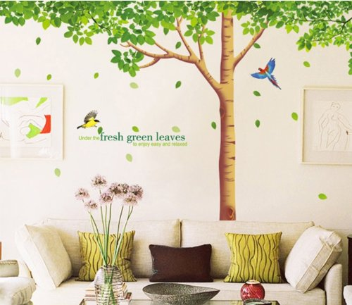 Fresh Vert Feuilles d'amitié Arbre Sticker mural pour salon