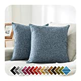 HPUK Pack of 2, Decorative Pillow Cover, Solid Color Pillowcase for Couch, Sofa, Bedroom, Car, Office, Holiday Decor,17x17 inch, Blue