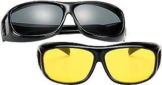 ZEVONDA Men Women Wear Over Sunglasses - Polarized Night Vision Glasses Fit Over Prescription Glasses UV Wind Protection