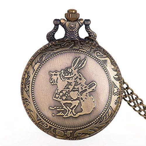SWAOOS Reloj De Bolsillo Vintage Retro, Collar De Cuarzo para Mujer, Colgante De Bronce para Mujer, Cadena Retro, Regalo