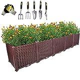 Damai Pflanzenkübel - Blumentopf Hochbeet -Gartenbox Mit Drainagestopfen Und Gartenwerkzeug-Kit Für Gemüseblumenkräuter Pflanzbeete 200x40x22cm