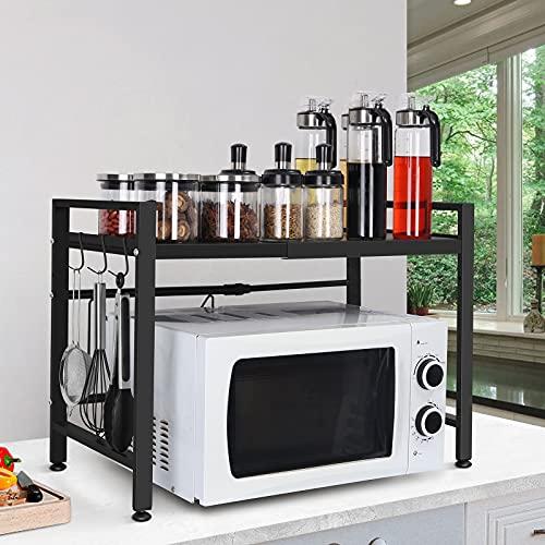 Soporte Extensible para Microondas mueble microondas Rejilla para microondas Rack de Almacenamiento de Horno Estante para Horno de sobre encimera de Cocina Estantería de Cocina con 3 Ganchos