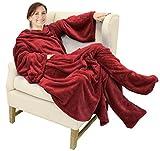 Catalonia TV-Decke Kuscheldecke mit Ärmel und Füßen, Profikuschel Ganzkörper Snuggle Decke zum Anziehen Winter Wolldecke für Erwachsene Frauen und Männer für Geschenk, 190 x 135 cm, Wein