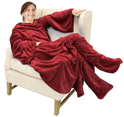 Catalonia TV-Decke Kuscheldecke mit Ärmel und Füßen, Profikuschel Ganzkörper Snuggle Decke zum Anziehen für Erwachsene Frauen und Männer für Geschenk, 190 x 135 cm, Wein
