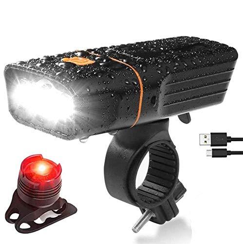 ToVii - Luces Bicicleta Delantera LED y Luz Bici Trasera Impermeable USB Recargable con Batería 5200mAh Super Brillante 1500lm y IPX5 Resistente Bike Lámpara de Luz Frontal 3 focos Multifuncional