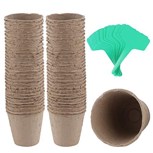 Coolty 60 Stück 3 Zoll Torftöpfe, Biologisch Abbaubare Anzuchttöpfe für Pflanzen, Umtopfen von Sämlingen, Kräutern, Blumen, Gemüse mit 60 Stück Pflanzenetiketten