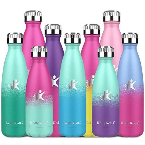 KollyKolla Botella de Agua Acero Inoxidable, Termo Sin BPA Ecológica, Botella Termica Reutilizable Frascos Térmicos para Niños & Adultos, Deporte, Oficina, Ciclismo, (750ml Macaron Verde + Azul)