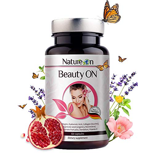 NatureOn BeautyOn Collagen Nahrungsergänzungsmittel - Kollagen Kapseln, Hyaluronsäure und Vitamin E - Anti Pickel und Anti Aging Haut Haare Nägel Kapseln - 60 Kapseln - 1 Monats Packung