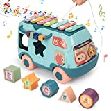 Fansteck Shape Sorter with Five Colorful Shape Blocks, Shape Sorter Toys for Toddlers, Music Bus Modeling with Different Kinds of Music, Educational Toys for Baby to Improve Sound Perception (Blue)