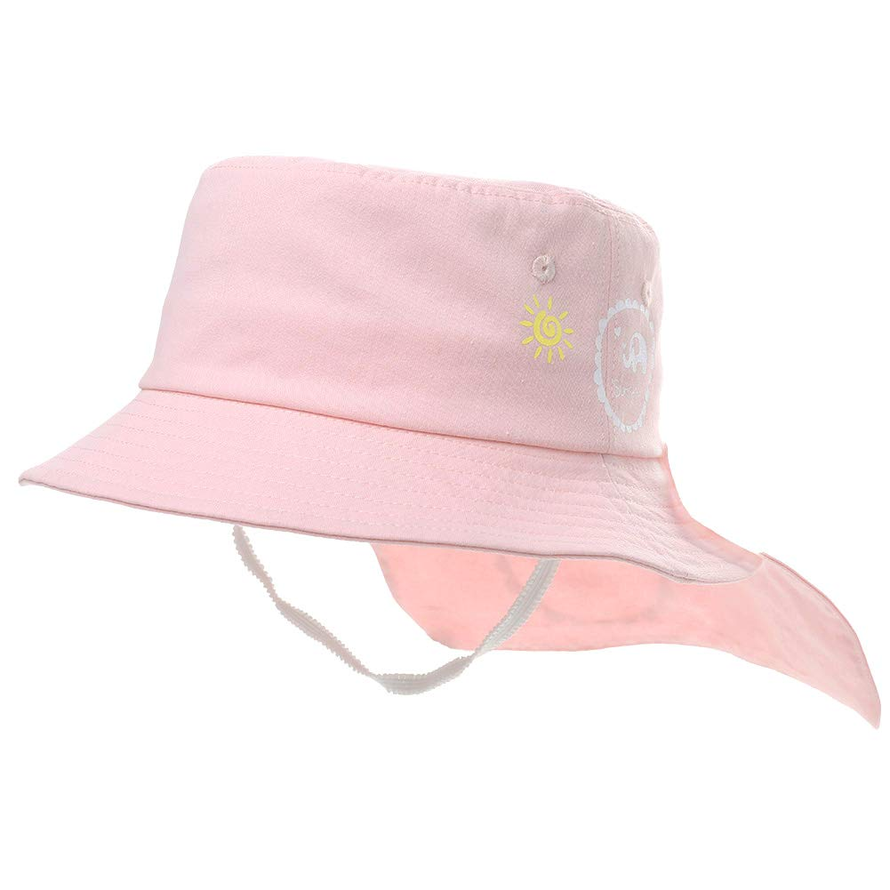Comhats UPF 50 Kids Cotton Bucket Sun Hat with Neck Flap for Girls Boys Summer Travel Beach Hat Adjustable Chin Strap
