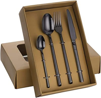 Silverware Set, 16pcs Travel Cutlery Set with Gift Box 18/10 Stainless Steel Cutlery Set Gold Knife Spoon Fork Environmentally Friendly Products by FGHN (Color : Light Grey)