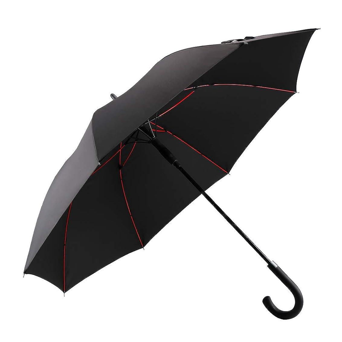 無礼にポット領収書Vialifer 改良耐風構造 長傘 超軽量 全グラスファイバー材質 撥水耐風 丈夫 大型 自動開けステッキ傘 紳士傘 大きな傘 男性 通勤 通学