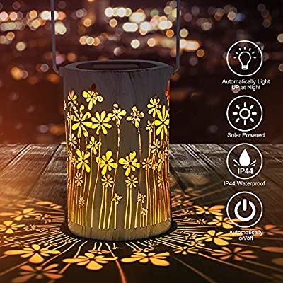 NANW Solar Lanterns Outdoor Lights for Decorative Hanging Garden Lantern Cylindrical Lamp Night Light with Handle Outdoor Hanging Solar Lights for Courtyard Garden Lawn Party