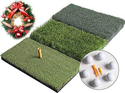 Golf 3-in-1 Turf Grass Mat Includes 6 golf balls and 1 Rubber Tee 3 Plastic Tees with Golf Tees,Tight Lie,Rough and Fairway for Driving,Chipping and Putting Golf practice and Training - 25x16in