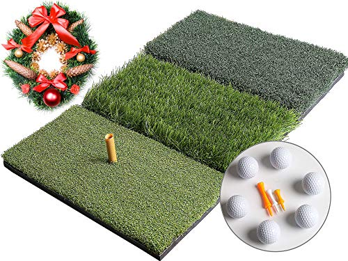 Golf 3-in-1 Turf Grass Mat Includes 6 golf balls and 1 Rubber Tee 3 Plastic Tees with Golf Tees,Tight Lie,Rough and Fairway for Driving,Chipping and Putting Golf practice and Training - 25x16in (5.3)
