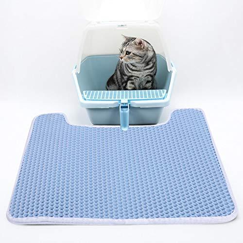 SALUTUYA Alfombra de Arena para Gatos con Gancho para Caja de Arena para Gatos(Blue)