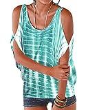 YOINS - Blusa informal de verano con los hombros descubiertos, cuello escotado, cierre anudado y estampado floral para mujer A-verde S