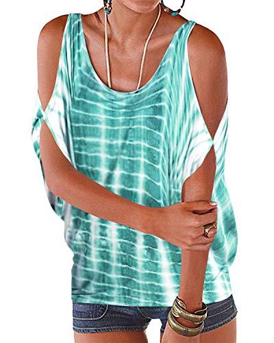 YOINS Camiseta Casual con Hombros Descubiertos para Mujer Top Sexy Elegante Blusas de Verano Tie Dye
